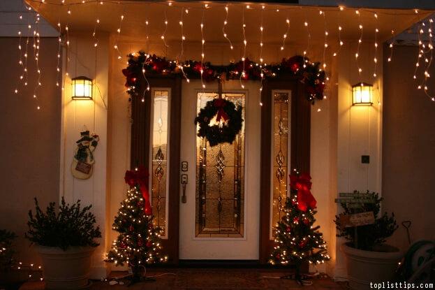 front door holiday lights - Solar Christmas Pathway Lights