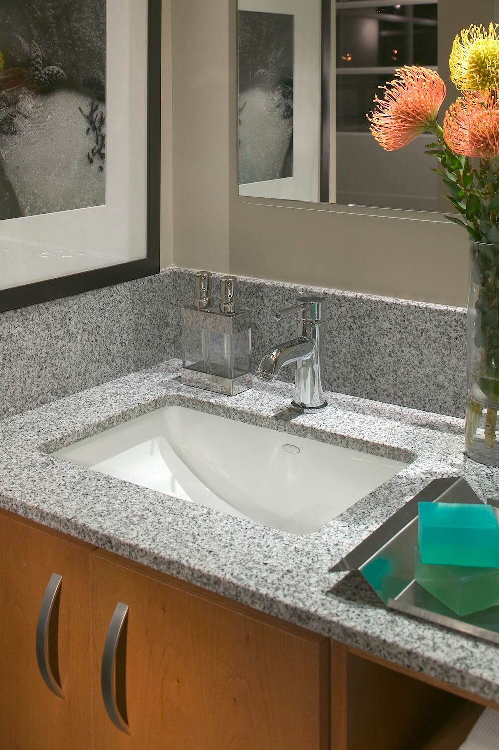 Gray Corian Countertop Bathroom