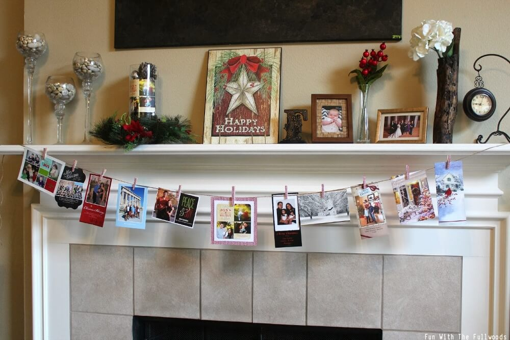 Mantel Decorating Christmas Cards
