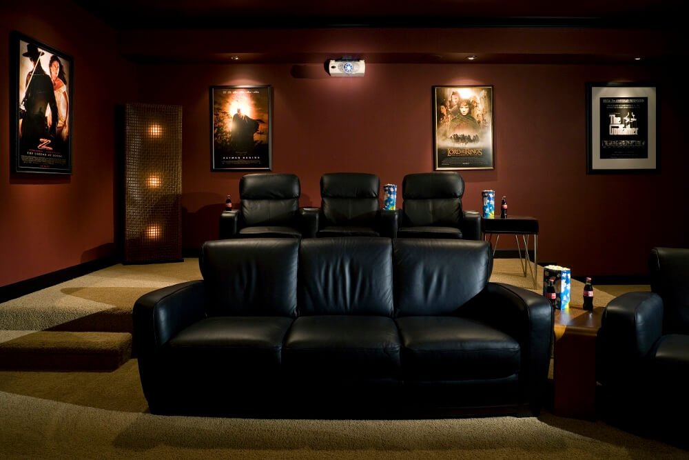 Must have amenities for your home theater ultimate home for Motorized curtains home theater