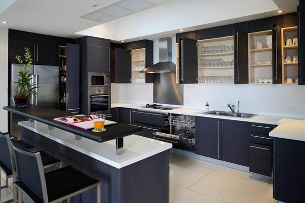 5 common features of kitchens designed for men for High level kitchen units