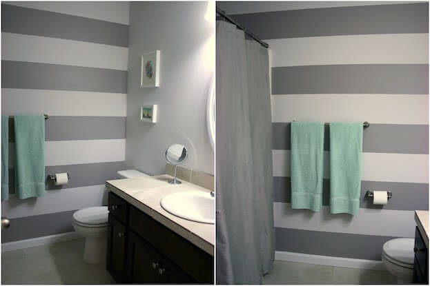 Small Bathroom Colors | Bathroom Colors for Small Bathrooms on stripe designs for dining rooms, striped bathroom walls, designs painted striped walls,