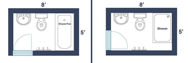 Bathroom Dimensions Gorgeous 7 Awesome Layouts That Will Make Your Small Bathroom More Usable Inspiration Design