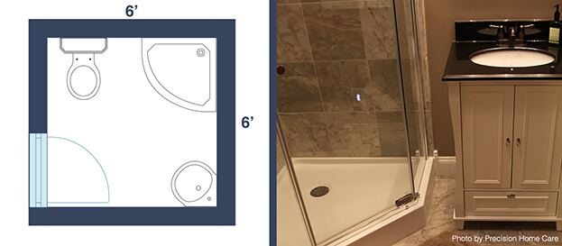7 awesome layouts that will make your small bathroom more for Bathroom designs 6 x 4