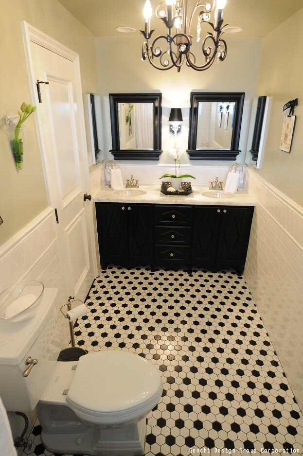 Floor Design How To Decorate Your Bathroom Using Black  White