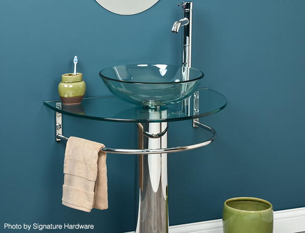 Small Bath Storage-Pedestal Sink Towel Bar