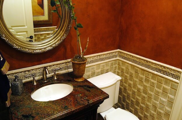 Small Bathroom: Gold Tile