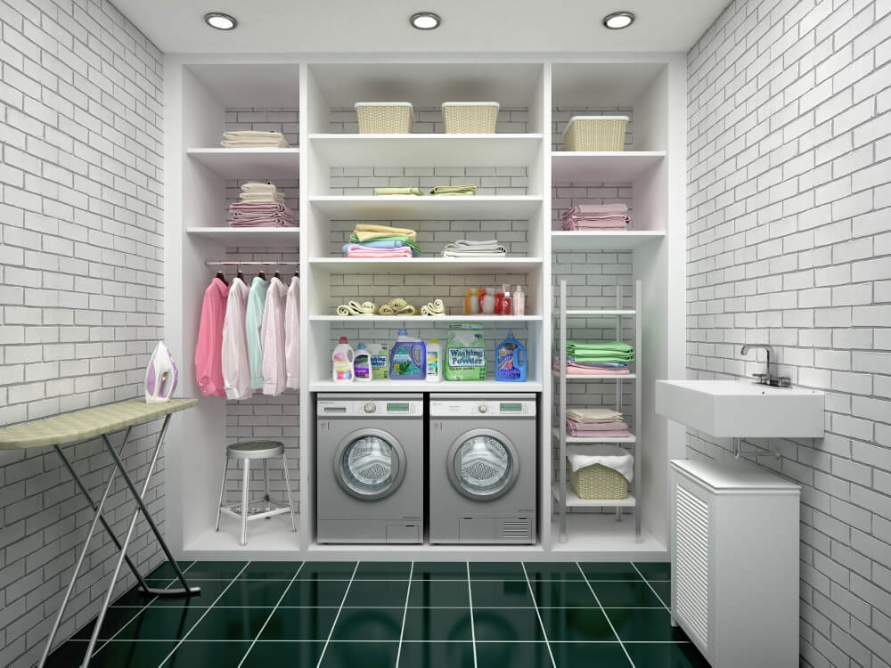 Unfinished basement laundry room ideas Storage Basement Laundry Room Ideas Improvenet Turn Your Unfinished Basement Into Your Dream Room Unfinished