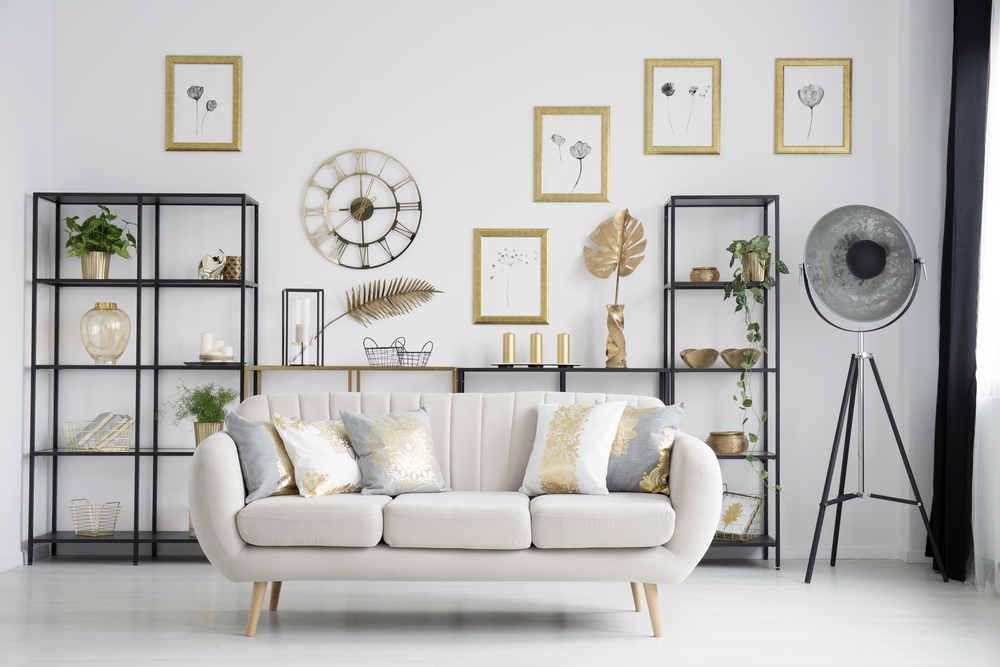 Metallic Accented Throw Pillows & Gallery Wall