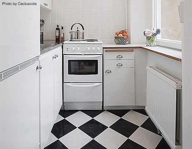 Diagonal Small Kitchen Flooring