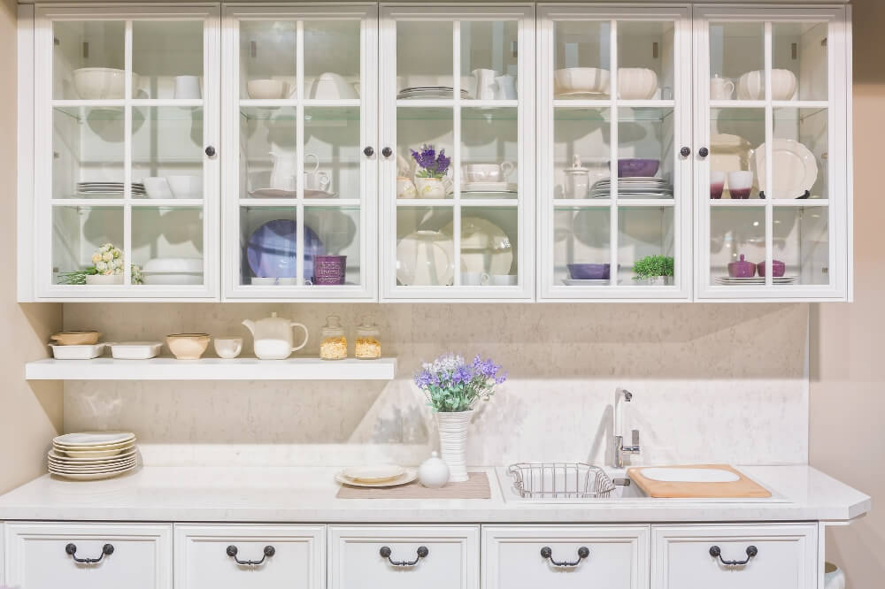 An Alternative To Wood Glass Front Cabinets Kitchen Cabinets