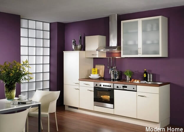 6 bold trendy kitchen paint color ideas for Purple paint in kitchen
