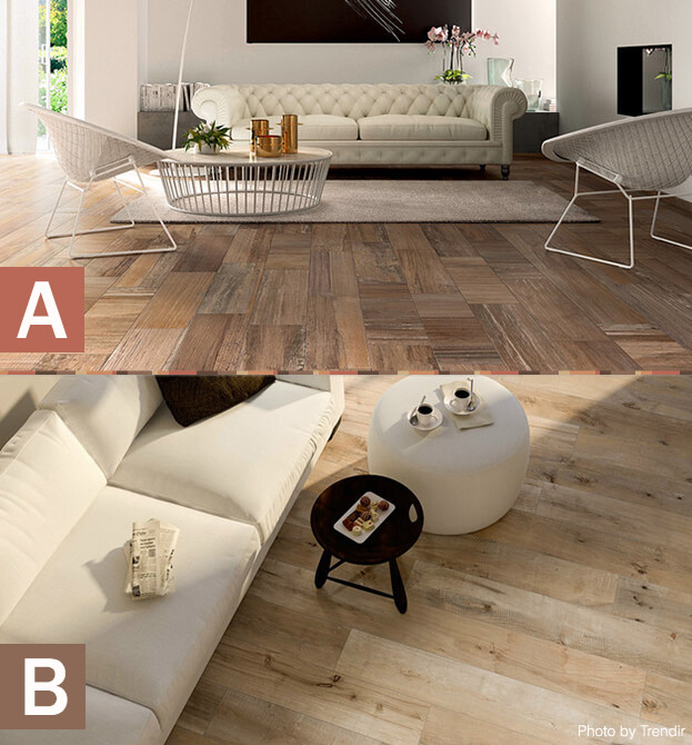 faux wood tile a or b - Wood Tile Floor Living Room